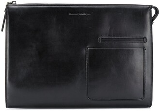 Ermenegildo Zegna Logo Embossed Laptop Bag