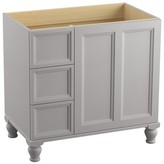 """Kohler Damask 36"""" Vanity Base Only with Furniture Legs, 1 Door and 3 Drawers on Left Finish: Mohair Grey"""