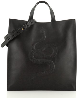 Gucci Convertible Open Tote Embossed Leather Tall