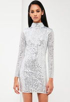 Missguided Silver Embellished High Neck Dress