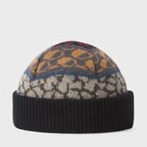 Paul Smith Men's Black Fairisle Lambswool Beanie Hat