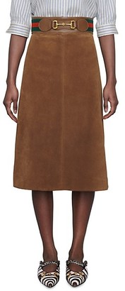 Gucci Suede Skirt With Web & Horsebit