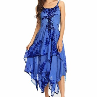 Fhuuly Women Summer Sexy Fashion Irregular Lace Up Corset Bodice Handkerchief Hem Dress Fashion Dyeing Holiday Maxi Dress (Blue M)