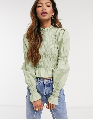 Monki Maya shirred cotton blouse in green