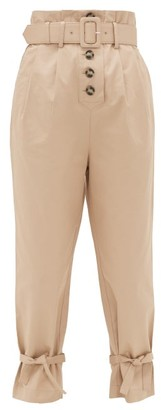 Self-Portrait Belted High-rise Cotton-canvas Trousers - Womens - Light Beige