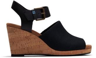 Toms Black Oxford Leather Women's Tropez Wedges