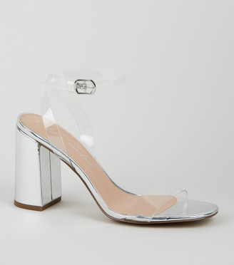 New Look Patent Clear Strap Block Heels