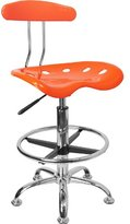 Flash Furniture LF-215-YELLOW-GG Vibrant and Chrome Drafting Stool with Tractor Seat