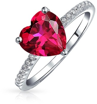 Bling Jewelry 2.5CT Red Pink Heart Shape Solitaire CZ Engagement Ring Thin Pave Band Imitation Ruby 925 Sterling Silver Promise Ring