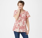Halston H By H by Printed Crepe Shirting Flounce-Sleeve Keyhole Top