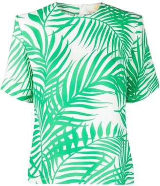 Sara Battaglia Palm Leaf Printed Crepe Blouse
