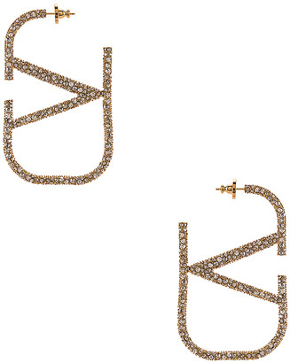 Valentino VLogo Earrings in Gold & Crystal Silver   FWRD