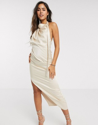 ASOS DESIGN halter drape detail midi dress with buckle in textured satin crepe