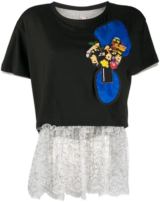 Antonio Marras sequin detail lace hem T-shirt