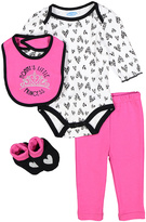Bon Bebe Black & Pink Princess Heart Bodysuit Set - Infant