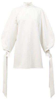 Carolina Herrera Balloon-sleeve Crepe Mini Dress - White