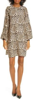 ATM Anthony Thomas Melillo Leopard Long Sleeve Silk Charmeuse Dress