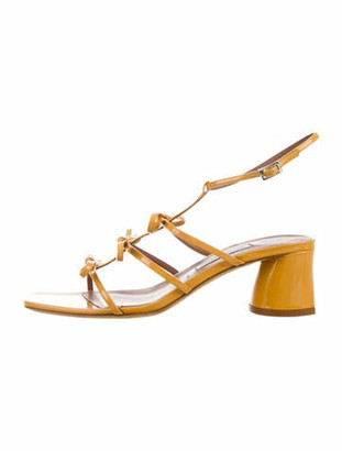 Tabitha Simmons Patent Leather T-Strap Sandals Yellow