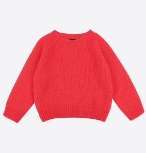 Lowie Strawberry Cropped Mohair Jumper - L - Red
