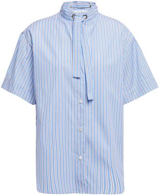 Sandro Jacob Tie-neck Striped Cotton-poplin Shirt