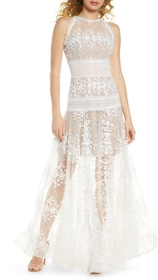 Bronx and Banco Megan Blanc Floral Lace Gown