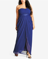 City Chic Trendy Plus Size Strapless Embellished Draped Gown
