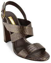 Lauren Ralph Lauren Kaila Snake Leather Slingback Sandals
