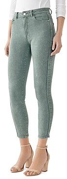 DL1961 Farrow High-Rise Cropped Skinny Jeans in Acid Sage