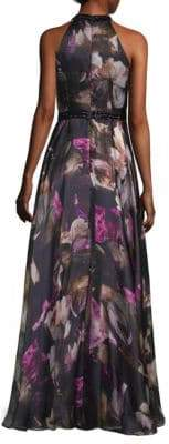 Carmen Marc Valvo Floral Halter Neck Floor-Length Gown