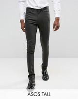 Asos Tall Skinny Suit Trousers In Herringbone Green Wool Blend