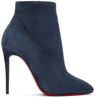 Christian Louboutin Blue Suede Eloise 100 Boots