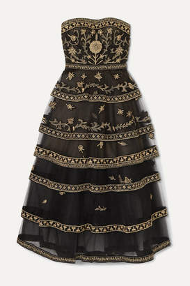 Oscar de la Renta Strapless Tiered Embroidered Tulle Gown - Gold