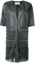 Urban Code Urbancode - fringed short-sleeved coat - women - Polyester/Polyurethane - 8