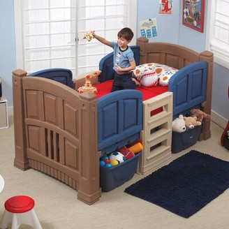 Step2 Twin Low Loft Bed with Storage Color: Brown/Blue
