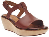 Clarks As Is Leather T-strap Wedge Sandals - Hazelle Amore