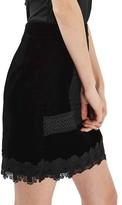 Topshop Women's Velvet & Lace Miniskirt