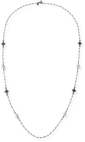 Armenta Old World Tahitian Pearl Station Necklace with Champagne Diamonds, 39""