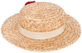 Eugenia Kim Brigette pom-pom boater hat - women - Cotton/Straw - One Size