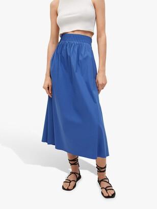 MANGO Ruched Midi Skirt, Blue