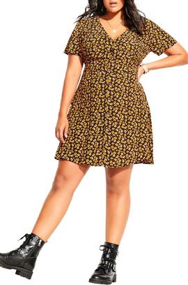 City Chic Golden Ditzy Dress