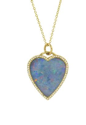 Jennifer Meyer Cotton Candy Opal Inlay Heart Pendant Necklace with Diamonds - Yellow Gold