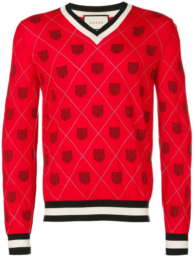 Gucci Tiger argyle sweater