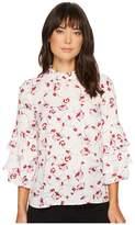 CeCe Nastasha Floral Tiered Ruffle Sleeve Blouse Women's Blouse
