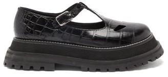 Burberry Aldwych Crocodile-effect Leather T-bar Flats - Black
