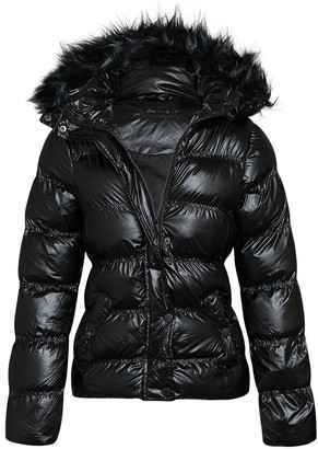 shelikes Womens Jacket Shiny Wet Look Winter Quilted Fur Hood Coat Black