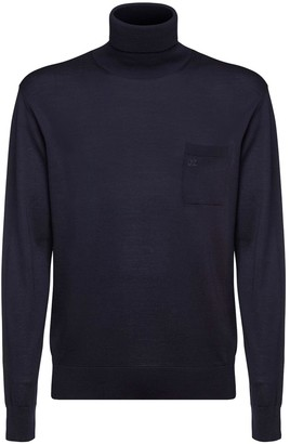 DSQUARED2 Logo Embroidered Wool Knit Turtleneck