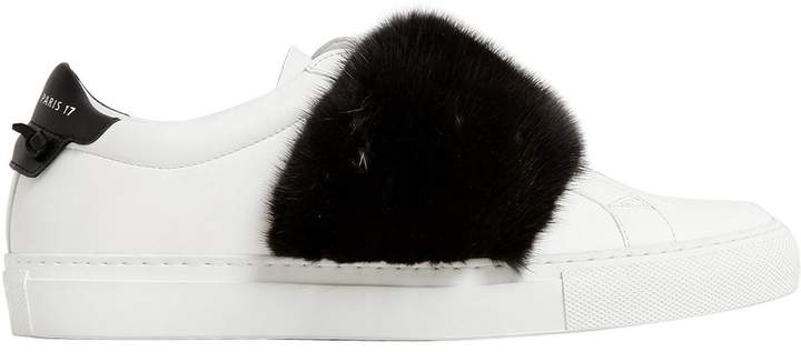 Givenchy 20mm Leather & Mink Slip-On Sneakers