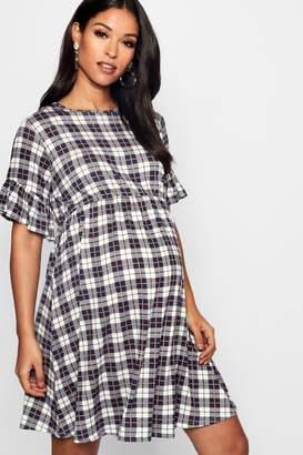 boohoo Maternity Check Smock Dress
