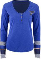 Reebok Women's St. Louis Blues Stripe Henley Long Sleeve T-Shirt