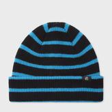 Paul Smith Men's Neon Blue Stripe Lambswool Beanie Hat